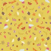 Lewis & Irene - Whatever The Weather - 6413- Autumn Motifs on Mustard - A372.2 - Cotton Fabric
